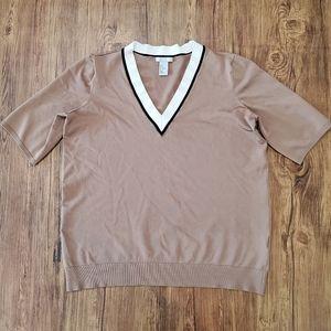 H&M Brown Striped V-Neck Boxy Top